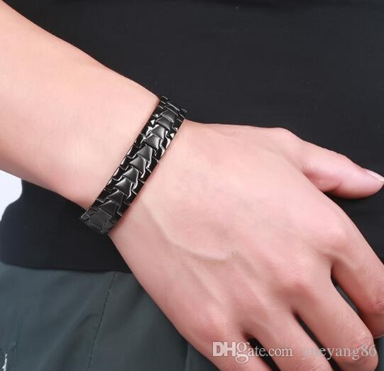 Brand New Silver Gold Black Color To Choose Lastest 316L en acier inoxydable thérapie magnétique soins de santé Bracelet Bracelet Hommes Femmes