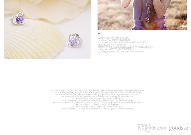 925 스털링 실버 귀걸이 패션 주얼리 스위트 하트 모양의 크리스탈 스터드 귀걸이로 보라색 흰색 여성을위한 색상 소녀