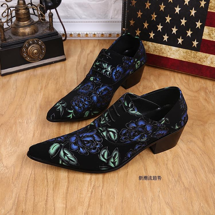 Printing Mens Leather Shoes Blue Flower Print Black Lace-Up Male Shoes Pointed Toe Oxfords Man Wedding Shoes Business Dress Shoes Party Ball