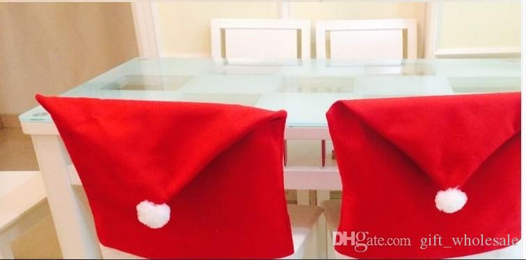 Hot sale Santa Clause Red Hat Christmas gift Chair Back Covers for Christmas Dinner Decor New Party Supply Favor