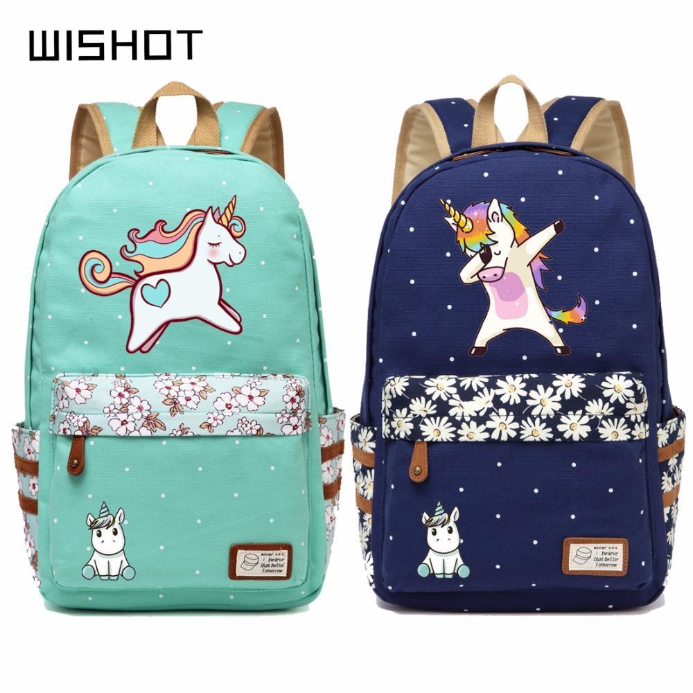 cute backpacks for girls Wishot Cute Unicorn Dab Cartoon Backpack For Women Girls Canvas  cute backpacks for girls