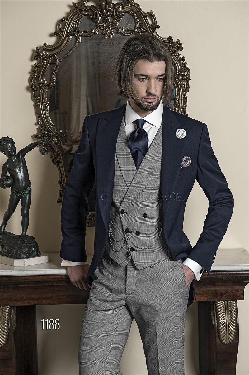 Brand New Nauy Blue Tailcoat Light Grey Vest Pants Custom Made ...