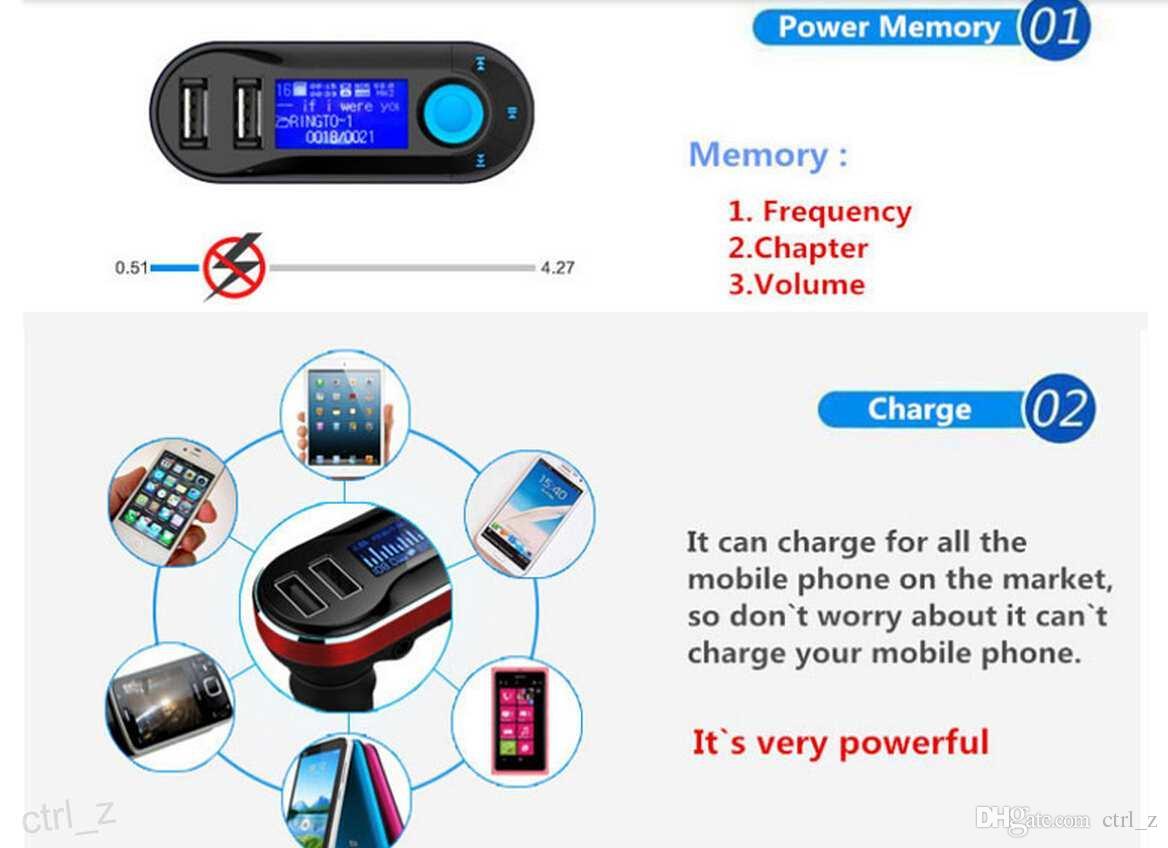Беспроводной T66 MP3-плеер автомобильный комплект FM-передатчик с автомобиля аудио пульт дистанционного управления ЖК-дисплей с AUX играть