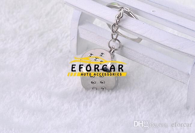 Bilstil, Chrome Silver Dice Key Chain Ring Fob - För hus Hem / Bil / lastbil / Bike Keys Helt ny gratis frakt