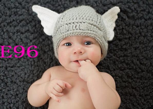 Handmade crochet knitted hat cute baby boys girls thor viking helmet infant toddler children beanie cotton newborn photo props ski hats newborn hats from