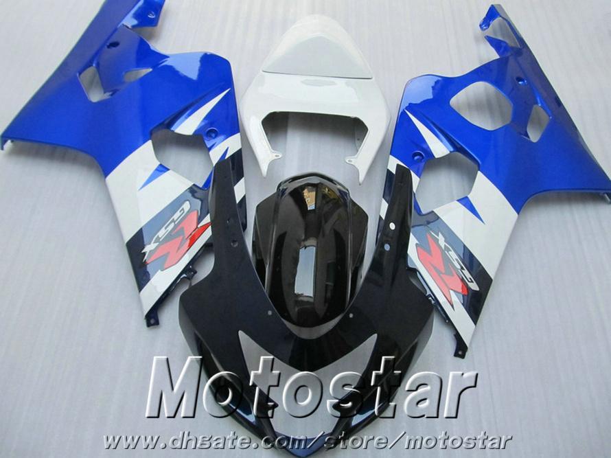 Set de carrosserie de haute qualité pour Suzuki GSXR600 GSXR750 04 05 carénages K4 GSX-R600 / 750 2004 Kit de carénage noir blanc bleu QE21