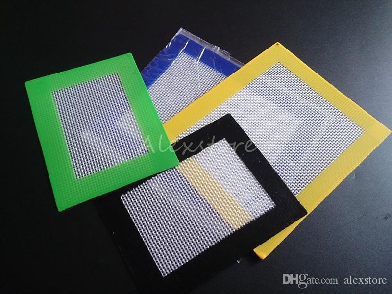 Almohadillas de cera de silicona esteras de hierba seca 14 cm * 11,5 cm o 11 cm * 8,5 cm cuadrada grado alimenticio estera para hornear hojas de dabber tarros herramienta dab para vaporizador