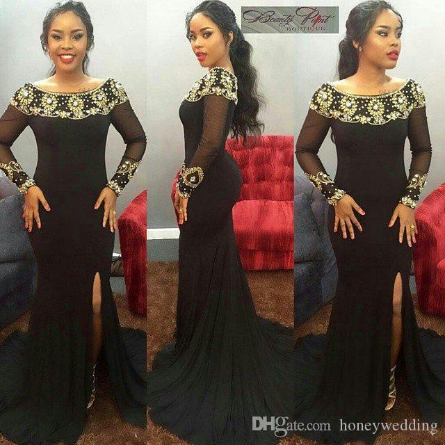 Elegante sirena larga árabe negro vestidos de noche escote redondo escarpado manga larga vestidos formales de baile Dubai moda tallas grandes vestido formal de las mujeres