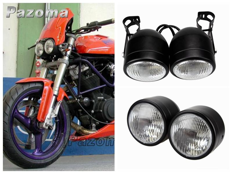 pazoma motorcycle headlight streetfighter black twin dual head