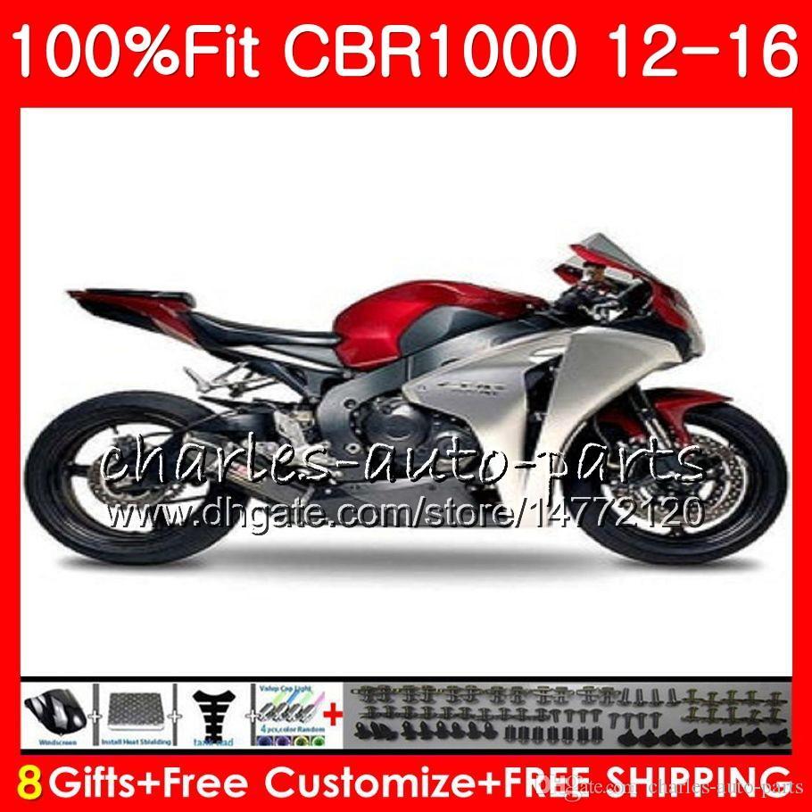 Впрыска для HONDA CBR1000 RR серебристо-красный CBR 1000 RR 12 16 88NO74 CBR 1000R 12 13 14 15 16 CBR1000RR 2012 2013 2014 2015 2016 обтекатели