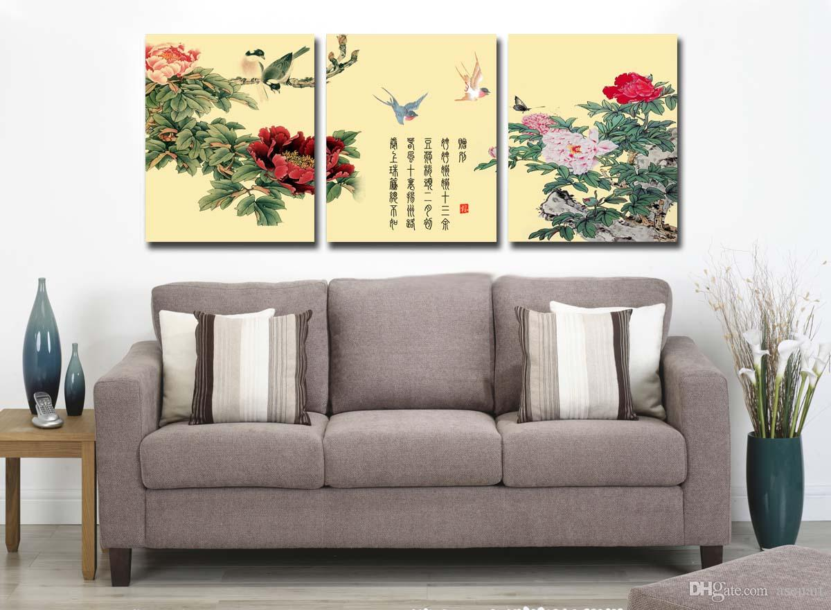 3 Panels China Wind Plum Blossom Peony Blue and White Porcelain Modern Wall Oil Painting Printed On Canvas For Home Decoration
