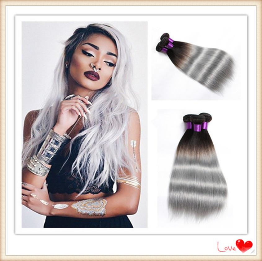 6a top grade black to grey hair weave ombre brazilian human hair 6a top grade black to grey hair weave ombre brazilian human hair straight two tone 1bsilver gray ombre hair extensions black hair weaves hair weaves for pmusecretfo Choice Image