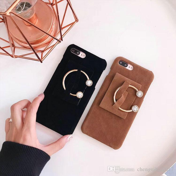Phone Case for iPhone8 8plus 7 6 6S 7plus Butterfly iron ring pendant chic plush phone shell hard cover for girls lady