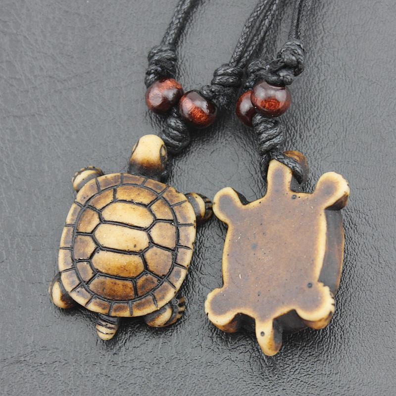 Jewelry Wholesale Imitation Bone Carved Lovely Brown Surfing Sea Turtles Pendant Lukcy Necklace Choker Gift MN387