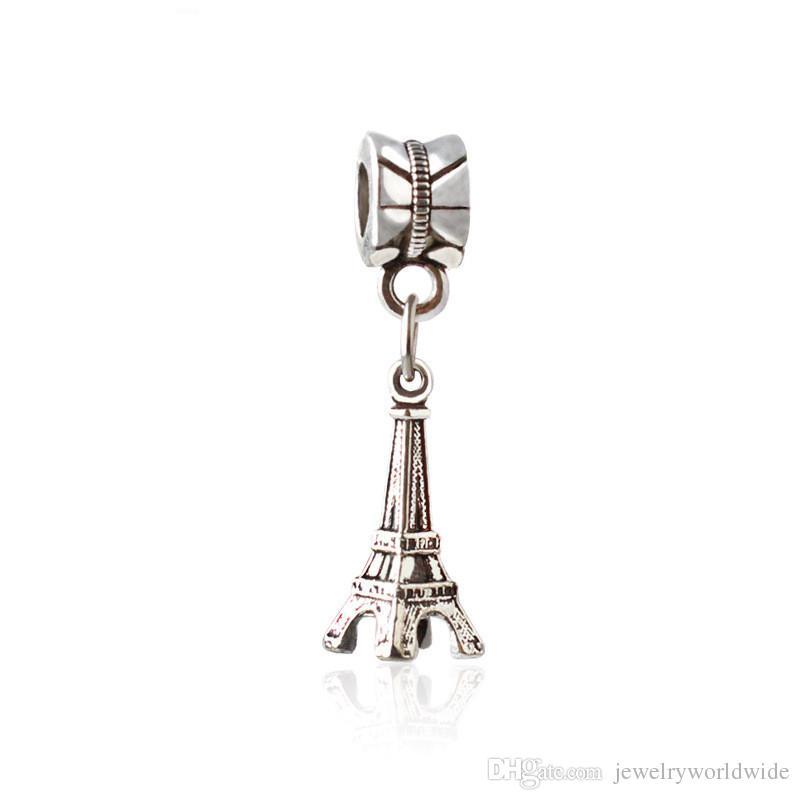 Tower Dangle Pendant Alloy Charm Bead Fashion Women Jewelry Stunning European Style For Pandora Bracelet Necklace