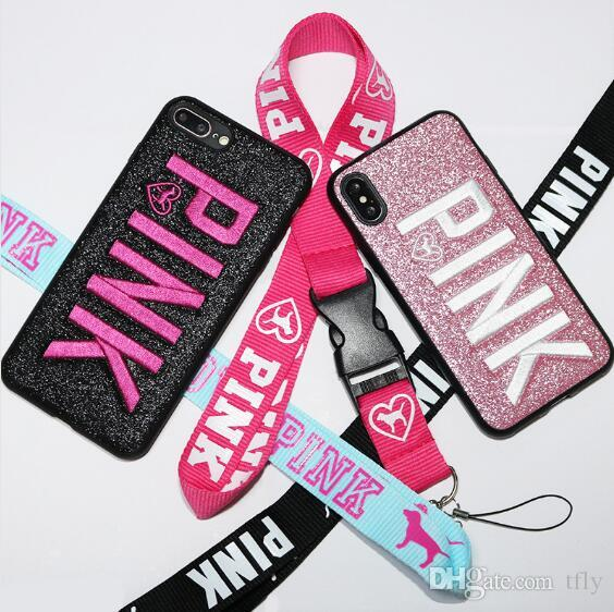 For iphone X XS MAX XR Cell phone Love Pink letter Case Fashion Design Glitter cases 3D Embroidery bling COVER CASES For iPhone X 8 7 6 plus