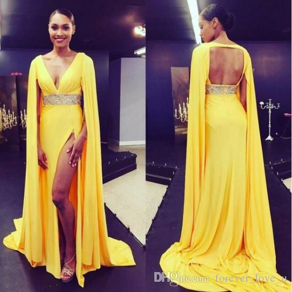 Sexy Arabic Evening Dresses Deep V Neck Sleeveless High Split Cut Out Open Back Formal Dress with Cape Yellow Prom Party Gowns