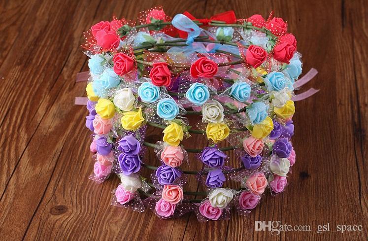 Bohemian Terylen Çiçek Çelenk Çelenk Taç Festivali Fotoğraf sahil Düğün Gelin Gelinlik Çiçek Kafa BOHO Headdress