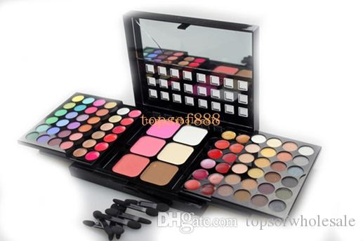2016 HOT sale 78 palette di colori dell'ombretto set 48 ombretto + 24 lip gloss +6 fondotinta in polvere / blush makeup kit cosmetici