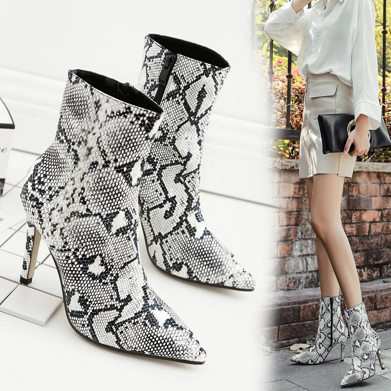 Women Sexy Pointy Toe Stiletto Snake Embossed Pu Half Fashion Boots 2018  Spring New High Heels Shoes Elegant Work Style Size Eu 35 40 Boots No 7  Bootie From ... 73d7c2fbb0f9