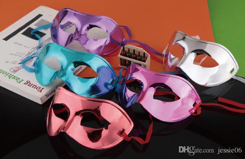 패션 마스크 할로윈 다채로운 파티 플랫 골드 도금 마스크 댄스의 절반 얼굴 컬러 남자 그림 또는 패턴 믹스 색상