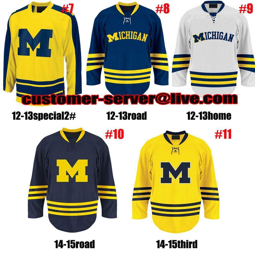 best value 9ad5d ef0f8 Factory Outlet, Custom NCAA hockey Jersey Michigan Wolverines jersey goalie  cut 1 steve Racine 11 zach Hyman 10 Justin Selman 7 JT Compher