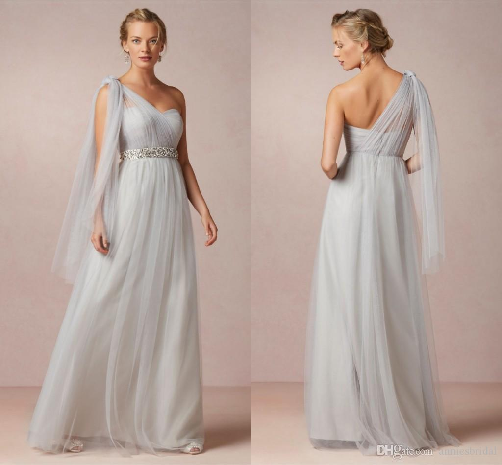 New 2015 one shoulder light grey tulle long bridesmaid dresses new 2015 one shoulder light grey tulle long bridesmaid dresses beading sash backless zipper floor length formal dresses wedding party gowns ombrellifo Image collections