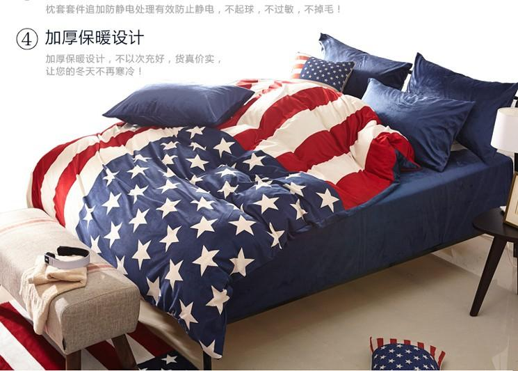 Famous American Flag Velvet Bedding Comforter Set Queen Size Duvet Cover  BT31