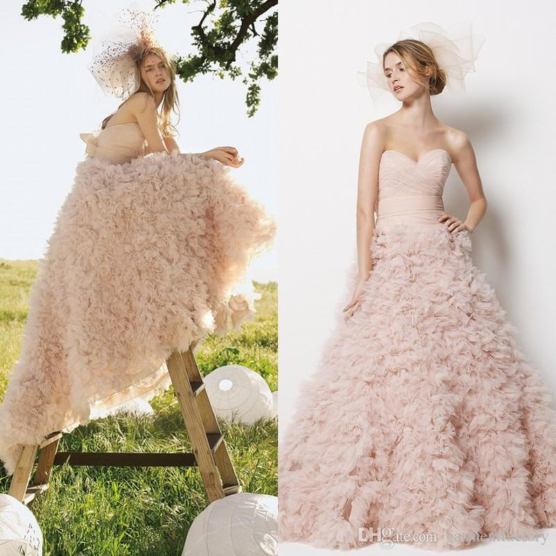Compre Monique Lhuillier Blush Rosa Vestido De Novia De Encaje Sin ...