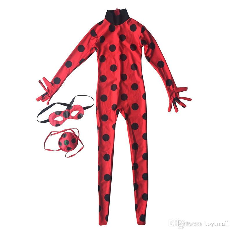 Ladybug Big Girl Clothes Ready Cartoon Costumes Dress Up Halloween Cosplay Children Wig Stage Role Pockets Eye Mask Free Ship