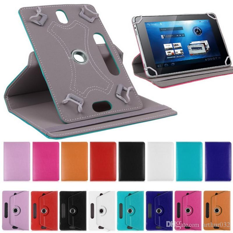 Custodia girevole a 360 gradi in pelle PU Custodia pieghevole Fold Flip Cover Fibbia di carta integrata Custodie universali Tablet PC 7 8 9 10 pollici Mini iPad