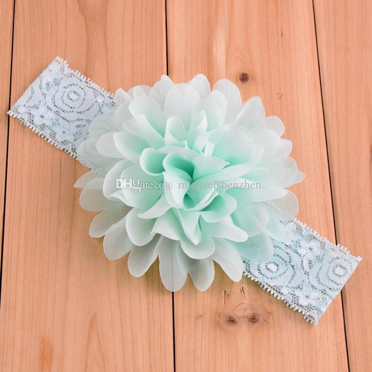 Bebek dantel Çiçek Saç bandı 16 renk ipek Saç halat bandı örme elastik kafa bandı Baş Bantları bebek Saç bandı B001