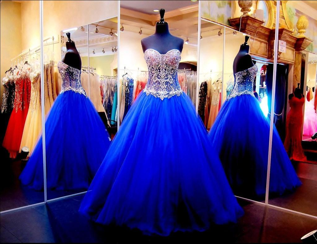Blue Ball Gowns Prom Dresses for Wedding/Event Real Image Sweetheart See-Through Sweet Sixteen Quinceanera Dresses with Crystals/Rhinestones