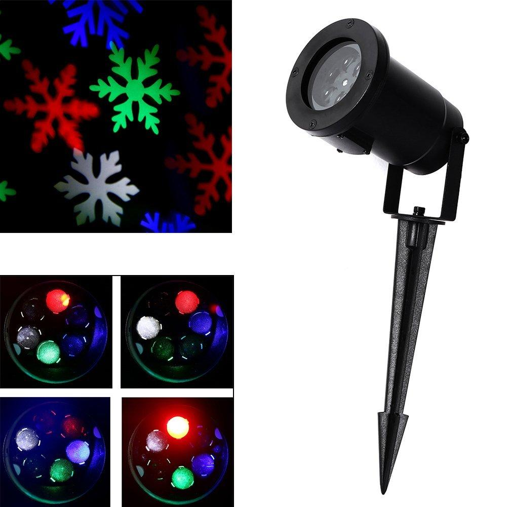 Moving Snowflake Spotlight Indoor/Outdoor LED Landscape Projector Light Snowflake Moves Automatically RGB Color Snow Laser Lawn Light Party