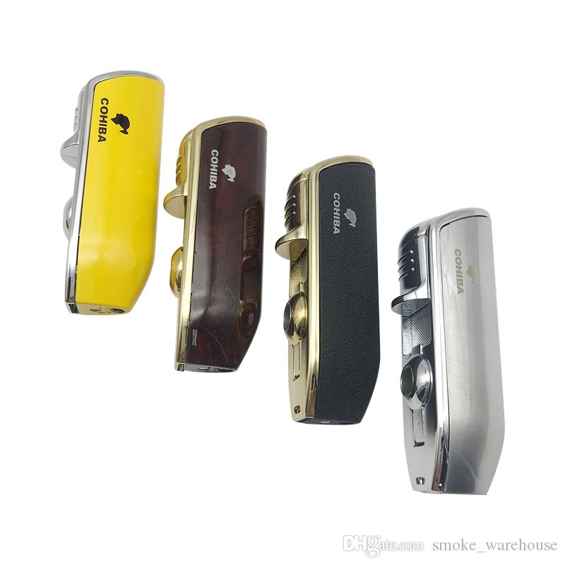 COHIBA Yellow Color Metal 3 Torch Jet Flame Cigar Cigarerre Lighter With Punch Lighter is Refillable