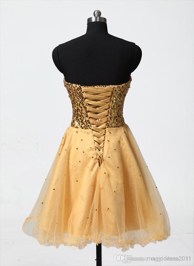 Pas cher 2019 En Stock Or Sexy Chérie Tulle A-Line Paillettes Mini Robes De Soirée Courtes Graduation Gown 08-030