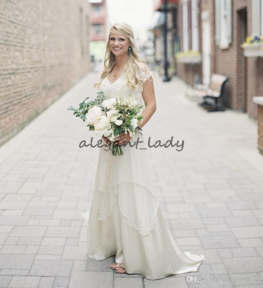 Lace Wrap Bohemian Country Wedding Dresses with Cap Sleeve Vintage Beaded Tiered Skirt Garden Long Boho Wedding Gowns