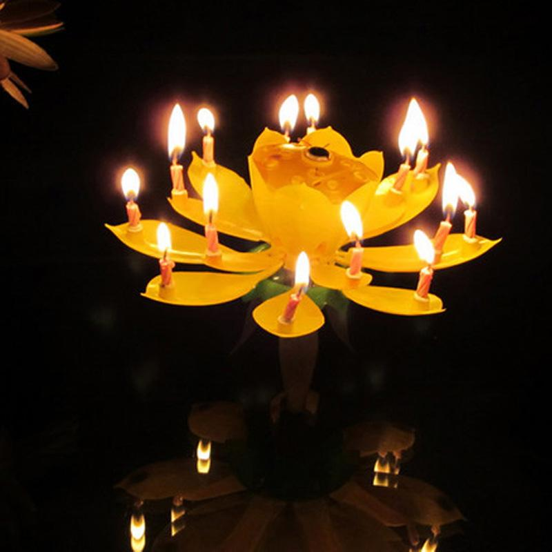 Wholesale Rotation Music Birthday Candle Musical Lotus Rotating Wedding Flower Happy Time To Party Double Layer Petal