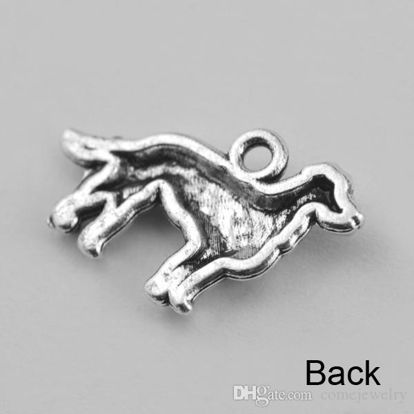 Antique Silver Dog Pendant Charms Fits Bracelets 23mm*14.5mm