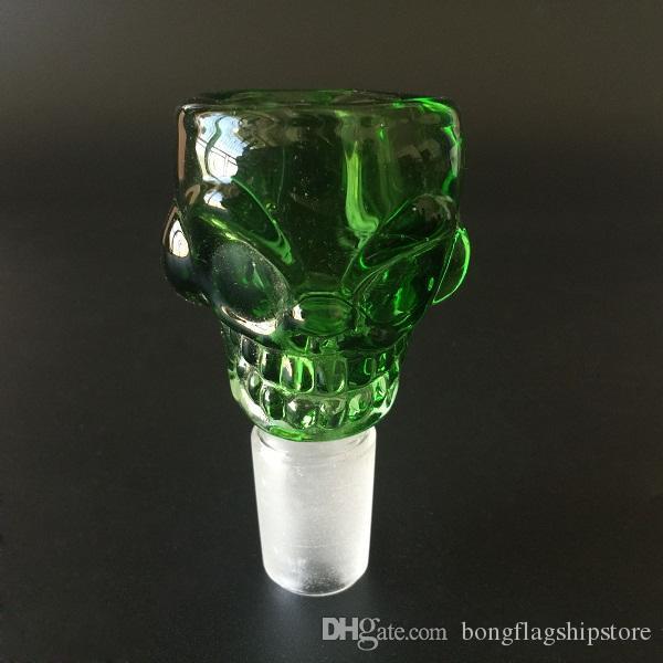Wholesale Skull design 14mm/18mm Glass Bowl Smoking pipe bong 7mm Thick For Mini Oil Rig Percolators Bubbler ash catcher