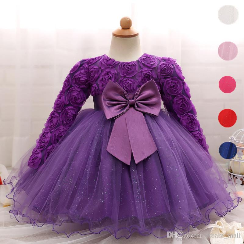 Toddler Girl Dress Newborn Baby Kids Lace Long Sleeve Infant Ball Gown Flower Girl Dress Bow Children Clothes