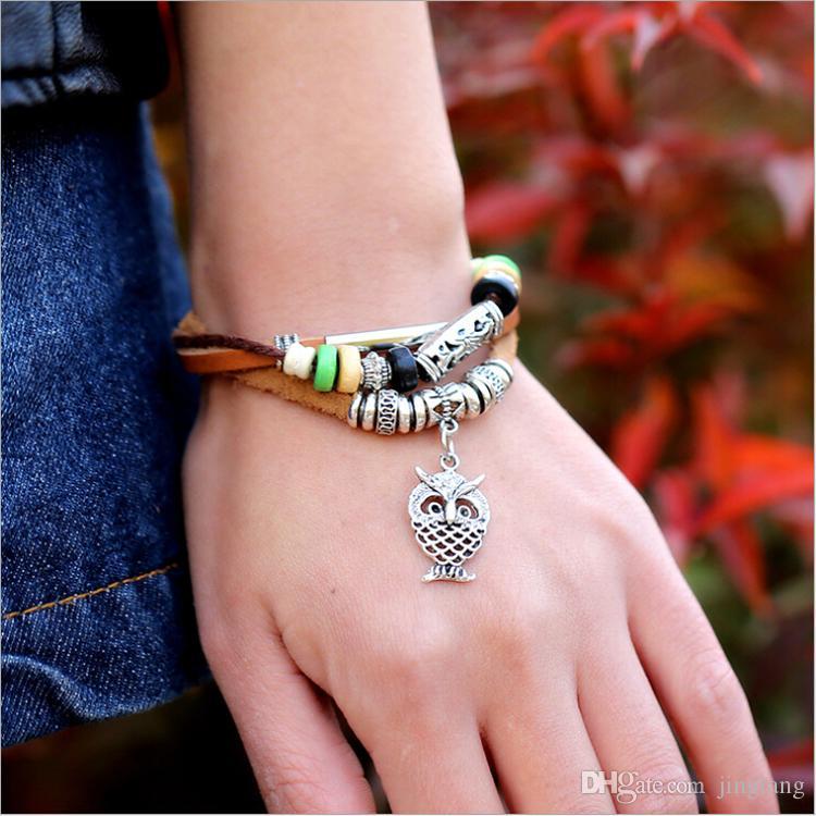 Fai da te nuovo di zecca moda di alta qualità fatti a mano stile cowboy punk perline in metallo ciondolo gufo braccialetti di cuoio gioielli unisex