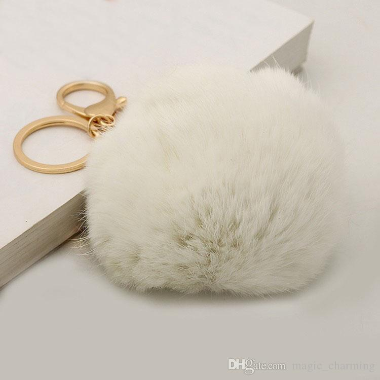 Cute Genuine Leather Rabbit Fur Ball Pom Poms Plush key chain for car key ring Bag Pendant car keychain gift for girls and women,mix colors