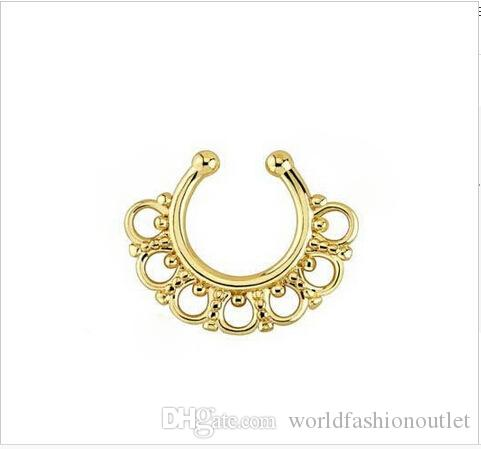 Nose Rings Studs fake nose ring Unisex Punk Non Piercing Fake Nose Ring Stud Hoop 18k Gold Fake Piercing Septum 16g Piercing
