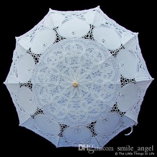 Новый стиль кружева свадебные зонтики Белый Слоновой Кости свадебный зонтик новые фотографии реквизит 82 см диаметр 68 см длина красивые свадебные аксессуары