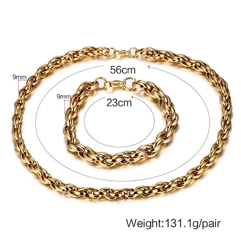 131.1g 9mm width Titanium steel rose gold necklace Men coarse act the role ofing add hand act the role of suit Being fashion jewelry