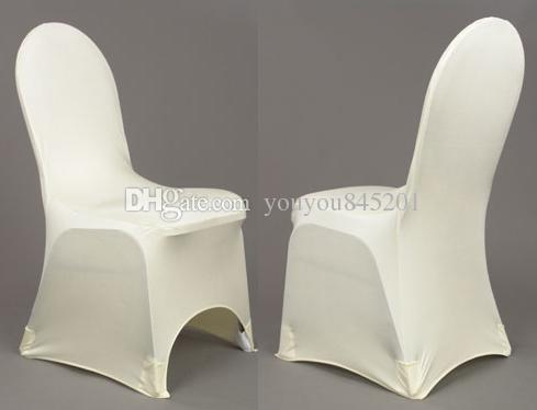 Stock Promotion: White Spandex With A Front Arch Banquet Lycra Chair Cover With