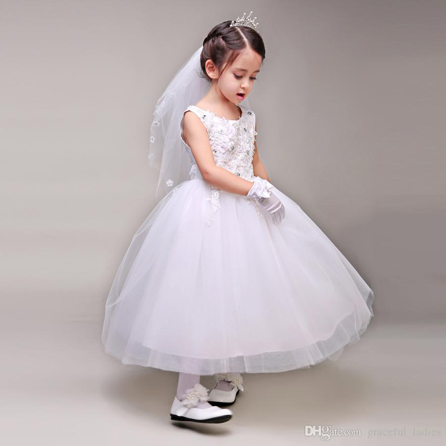Princesa blanca Florista Chica Velo de novia Flor Petail Apliques Accesorios para niños Niños Ropa formal Velos de novia Princesa Tocado