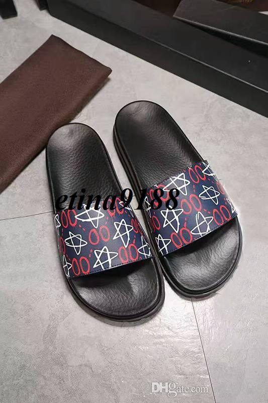 56fe55245 new arrival 2017 mens fashion Graffiti logo printing leather slide sandals  with thick rubber footbed size euro 40-45