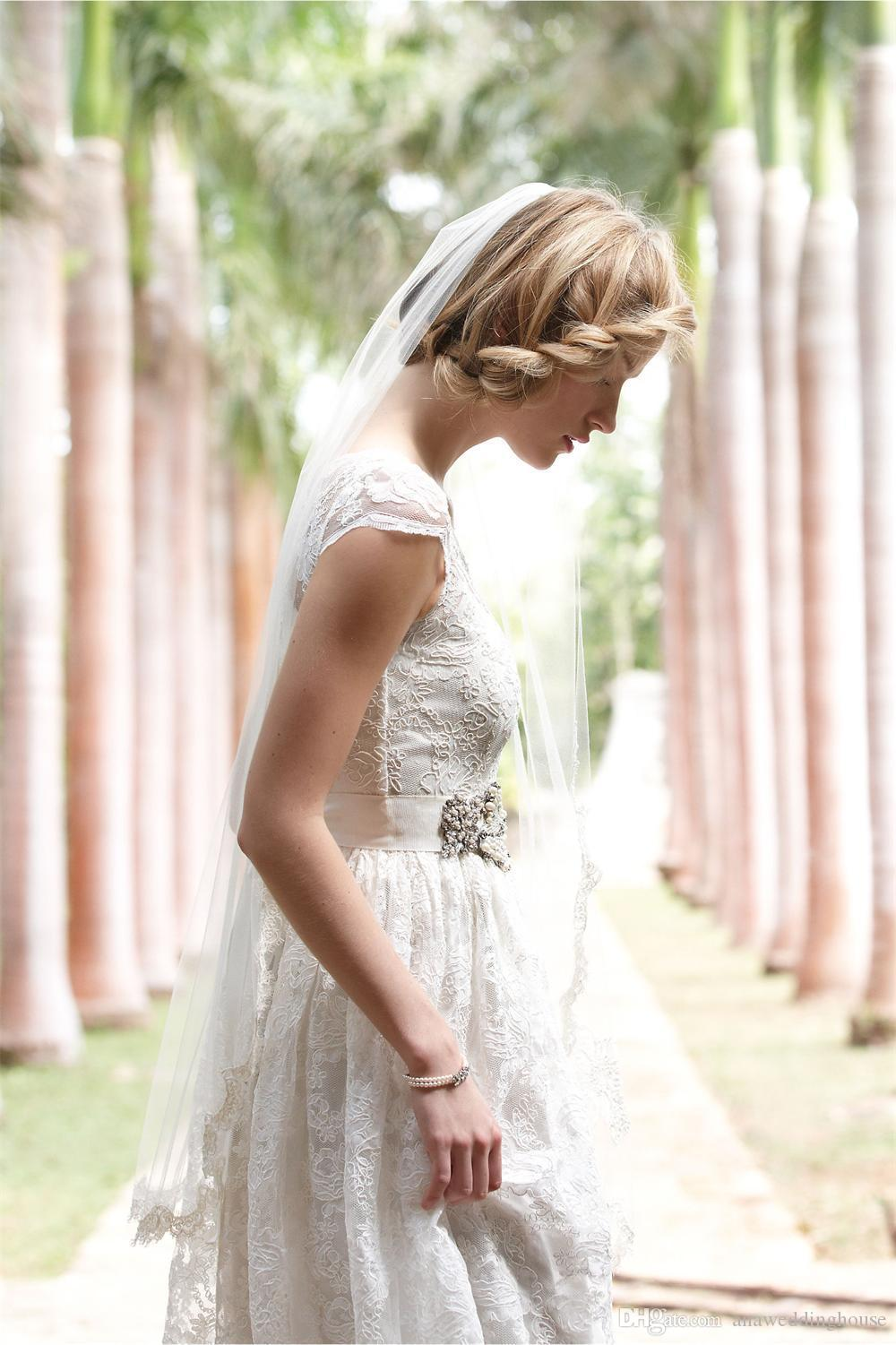 Amazing Lace Cheaper Wedding Dresses Sheer Neck Capped Sleeve A Line Floor Length Sash Vintage Bridal Gowns